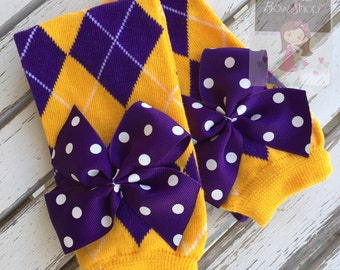 LSU Leg Warmers -- purple and yellow gold striped Leg Warmers -- bow leg warmers for baby girls -- Geaux Tigers