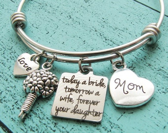 wedding gift for mom, bridal gift for mom from daughter, mother of the bride gift, today a bride tomorrow a wife forever your daughter