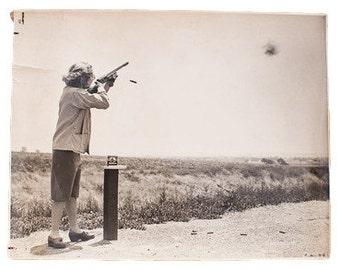Vintage Carole Lombard Shooting Range Photograph
