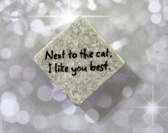 Next to the cat, I like you best..words..phrase..cat lover's...natural textured stone square magnet 1 1/2 x 1 1/2.. gift favors gray
