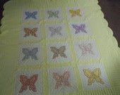RESERVE for ROSEMARY:  Vintage quilt butterfly hand appliqued and quilted   cotton fabrics   Queen Size   scalloped border