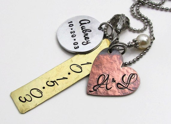 Personalized Necklace - Personalized Jewelry - Mom Necklace - Hand Stamped Jewelry - Mixed Metal family Necklace - Mother's Necklace (100)