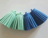4pcs Faux Suede Tassel Blue & Mint Green Charms - necklace, keyring or bag charm 35mm x 15mm