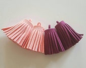 4pcs Faux Suede Tassel Pink & Purple Charms - necklace, keyring or bag charm 35mm x 15mm