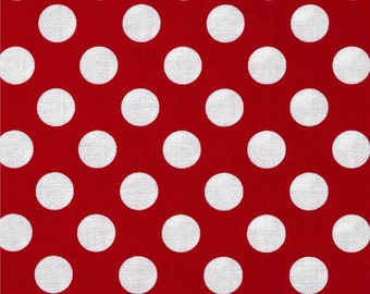 Michael Miller Fabric, Ta Dot Fabric, Red, Polka Dots, Fabric by the Yard, Ready to Ship