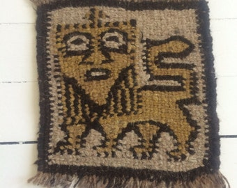 Vintage woven lion wall art