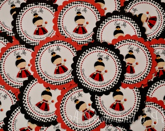 Queen of Hearts Favor Tag or Stickers - Set of 12