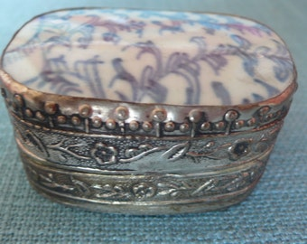 SALE Blue porcelain and silver metal trinket box Asian