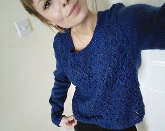 Navy glittery lacy front handknit sweater