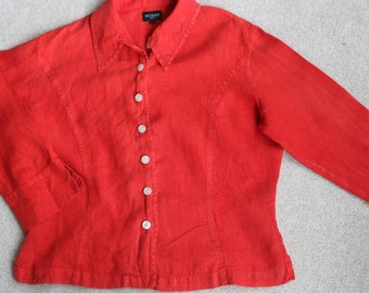 Hobbs red linen blouse UK size 12 US 8