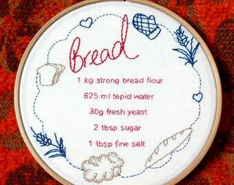 Bread Recipe Embroidery Hoop. Retro Baking. Quirky Home Decor.