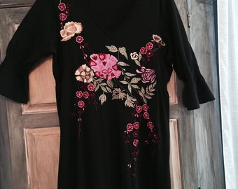 Size XL /1x Cotton Knit Black Peasant Dress With Colorful Embroidery- J. Peterman