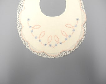 Vintage Baby Clothes, 1950's Handmade Ivory, Pink, and Blue Lace Cotton Baby Bib, Vintage Baby Bib, New Mom Gift, Size 0-12 Months