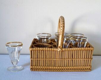 1950s - 6 French Vintage Liquor glasses - Mini Wicker Basket