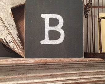 personalised letter block, initial, wooden letters, monograms, 15cm square, hand painted, letter B, chalkboard style