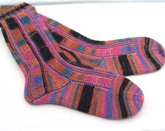Hand knit womens socks 5 - 6 UK  6 - 7 US 38 - 39 EU