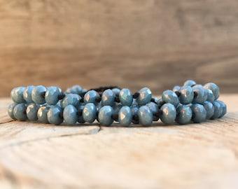 Beaded wrap crochet knotted bracelet necklace - artisan boho - yoga boho - boho bracelet - boho wrap bracelet