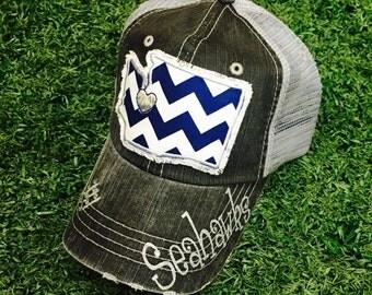 Seattle Seahawks Football Washington State Baseball Bling Ladies Womens Trucker Hat