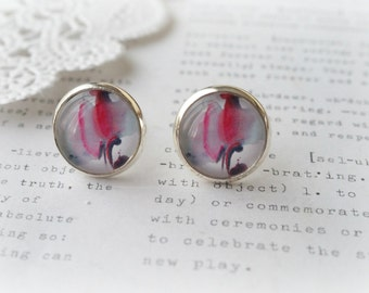 Round Glass Watercolour Grey, Purple and Crimson Stud Earrings
