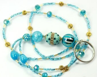 OCEAN SPARKLE - Beaded Badge Holder, Beaded Lanyard, Blue Lanyard