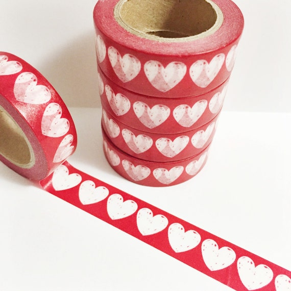 Basket Weaving Osi : Sale washi tape red with large hearts heart