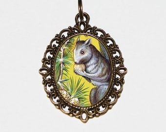 Squirrel Necklace, Squirrels, Acorn, Nuts, Woodland, Animal Jewelry, Squirrel Nut, Wildlife, Oval Pendant