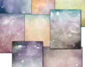 Space galaxy stars digital papers /old blue green  red// decoupage, scrap  // 8.5 x 11 in sheets  (105us)