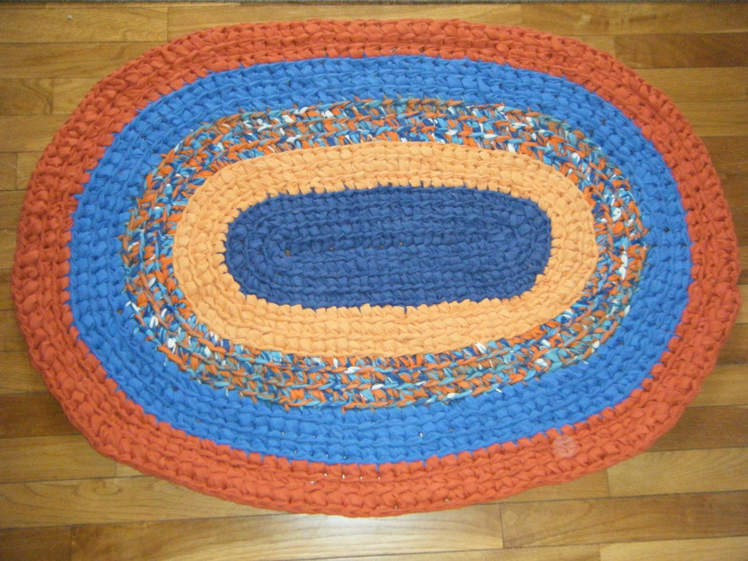 blue and orange oval areal rug for etsy. Black Bedroom Furniture Sets. Home Design Ideas