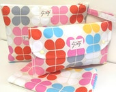 Diaper clutch nappy bag wallet with travel change mat and wet bag set. Geo Pop cotton canvas Best baby shower gift
