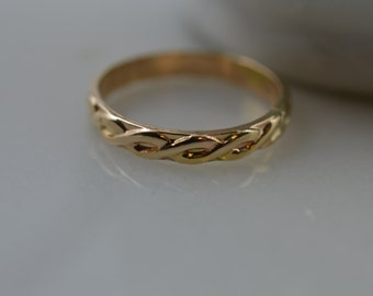 14k Gold Ring- Pattern Knuckle Midi Ring / SOLID gold Stack/Stacking Ring / Rope / Twist / Braid