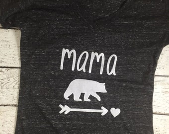 mama bear, mama bear shirt, Mom shirt, mommy shirt, mom life, buffalo plaid,  baby shower gift, mommy to be vneck shirt, mother's day gift