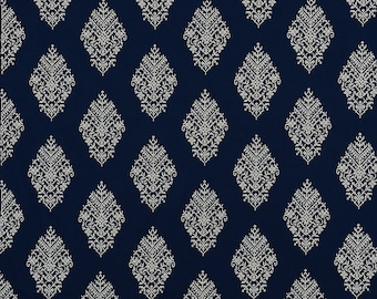 Schumacher Zinda Embroidery pillow cover in Navy