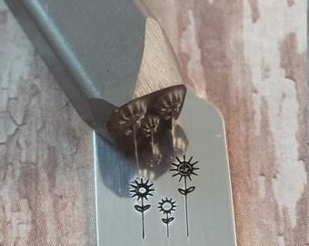 Three Flowers Beaducation Brand Design Stamp, DIY Metal Stamped Jewlery Tools, Supplies. Alphabet Stamp, Metalworking, Metal Stamp