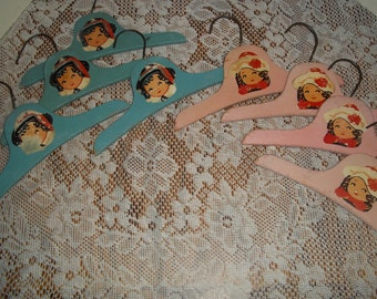 8 Vintage clothes hanger lot, Child wood with decals 4 blue 4 pink closet coat hanger, shabby display