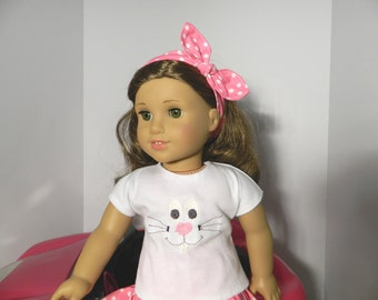 "Easter Bunny Tee Shirt and Skirt Outfit for American Girl Doll and other 18"" Dolls"
