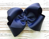 Navy Boutique Hair Bow - Extra Large Navy Hair Bow - Extra Large Boutique Bow - Extra Large Navy Bow