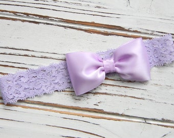 Baby Headband - Lavender Bow Headband - Lavender Lace Headband - Lavender Satin Bow Headband