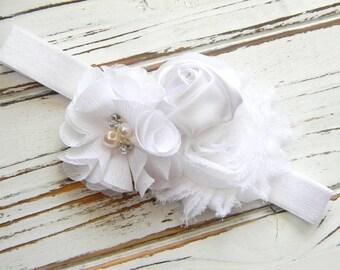 White Chiffon Headband - Baby Girl White Headband - Shabby Chic White Chiffon Headband - White Baby Headband - White Shabby Chic Headband