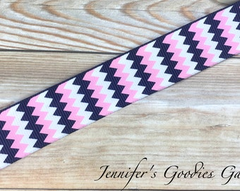 "Chevron Ribbon, Navy Chevron, Pink Chevron, 7/8"" Grosgrain Ribbon, Hair Bow Ribbon, Ribbon for Bows, Ribbon by the Yard, Hair Bow Supplies"