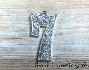 Number Seven Rhinestone Pendant, Number 7,  Seventh Birthday Necklace, 7th Birthday, Birthday Necklace, Number 7 Necklace, Chunky Necklace