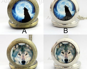 1pcs wolf Watch Pendant with chain /pocket watch/Bridesmaid Christmas gifts, friends children's gifts Thanksgiving Valentine's Day