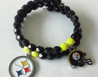 Pittsburgh Steelers Czech Glass Wrap Bracelet