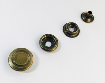 20 sets metal snap fasteners buttons 15 mm for clothing, diary, leathercraft etc -antique gold circle pattern