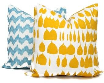 Schumacher Yellow Queen of Spain Decorative Pillow Cover, Square, Eurosham, Lumbar pillow, Throw Pillow Accent Pillow Daffodil Yellow Pillow