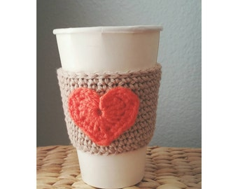 Crochet Coffee Sleeve Cup Sleeve Reusable Gift Idea Crochet Heart Coffee Cozy