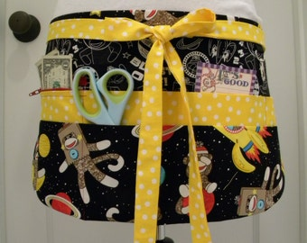 Teacher Crafter Vendor Utility Apron-Sock Monkeys in Space