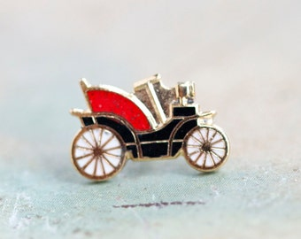 Antique Car Tie Pin - Tiny Automobile - Vintage Enamels