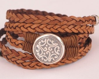 Leather Wrap Bracelet, Braided leather wrap, etched antique silver medallion, natural saddle leather, silver accents, secure magnet