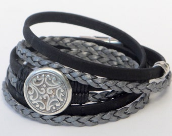 Cork Wrap Bracelet, braided leather and cork wrap, Etched Floral Medallion, silver braided leather, black cork, silver accent, secure magnet