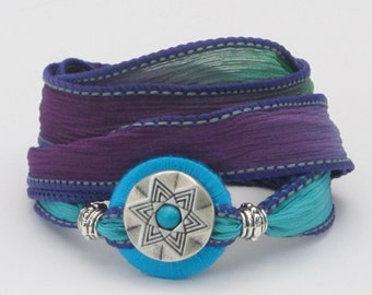 Silver Star with Turquoise, Whirly Wrap, Silk Ribbon, Silver and Turquoise, Violet Emerald and Turquoise, silk wrap, secure magnet